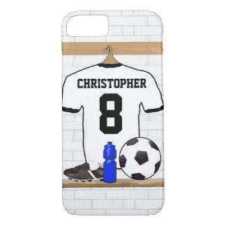 Personalisierter weißer schwarzer Fußball-Fußball iPhone 8/7 Hülle