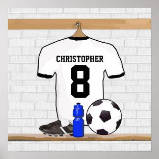 Personalisierter weißer schwarzer Fußball-Fußball Poster