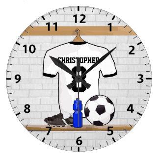 Personalisierter weißer schwarzer Fußball-Fußball Uhr