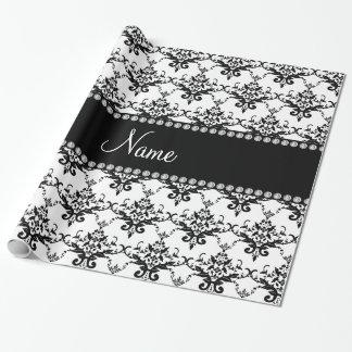 Personalisierter weißer schwarzer Namensdamast Einpackpapier