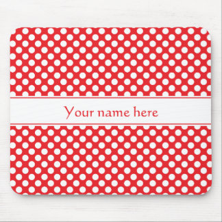 Personalisierter weißer und roter Polka-Punkt Mousepad
