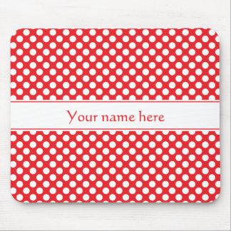 Personalisierter weißer und roter Polka-Punkt Mousepads