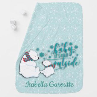 Personalisierter Winter-polare Bären Babydecke