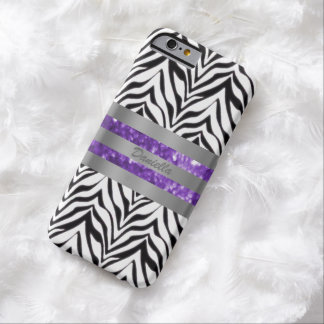 Personalisierter Zebra und lila Barely There iPhone 6 Hülle