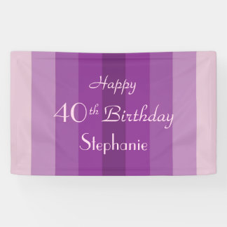 Personalisiertes 40. 45. Geburtstags-Zeichen-lila Banner