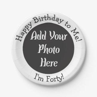 Personalisiertes 40. Geburtstags-Foto Pappteller