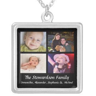 Personalisiertes 4 Foto-Collagen-Halsketten-Schwar