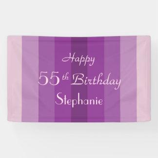 Personalisiertes 55. Geburtstags-Zeichen-lila Banner