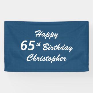 Personalisiertes 65. Geburtstags-Zeichen-blaues Banner