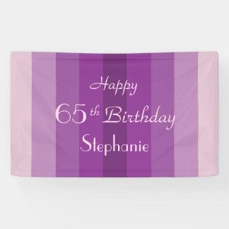 Personalisiertes 65. Geburtstags-Zeichen-lila Banner