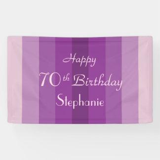 Personalisiertes 70. Geburtstags-Zeichen-lila Banner