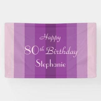Personalisiertes 80. Geburtstags-Zeichen-lila Banner
