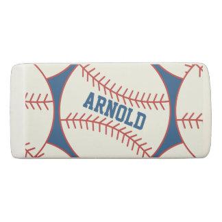 Personalisiertes Baseball-Muster-Blau Radiergummi