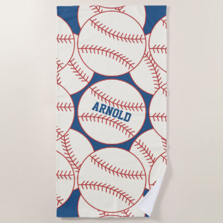 Personalisiertes Baseball-Muster-Blau Strandtuch