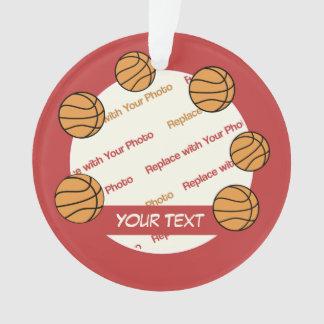 Personalisiertes Basketball-Foto und Text - 2 Ornament