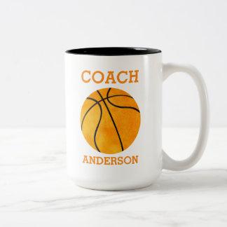 Personalisiertes Basketball-Trainer orange Retro Zweifarbige Tasse