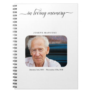 Personalisiertes Begräbnis- Gast-Buch/Erinnerungs Spiral Notizblock