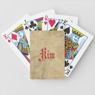 Personalisiertes Blackletter Pergament-Kim-Rot Spielkarten
