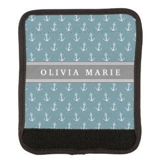 Personalisiertes blaues Anker-Namensmuster Gepäck Markierung