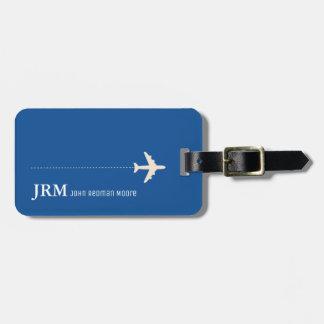 personalisiertes blaues Reiseflugzeug Gepäckanhänger