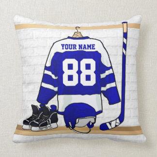 Personalisiertes blaues und weißes Eis-Hockey Kissen