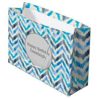 Personalisiertes blaues und weißes Zickzack Große Geschenktüte