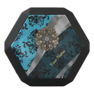 Personalisiertes blaues Vintages Damastmuster Schwarze Bluetooth Lautsprecher