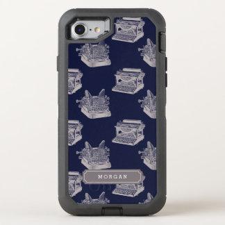 Personalisiertes blaues Vintages OtterBox Defender iPhone 8/7 Hülle