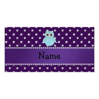 Personalisiertes bling Eulendiamanten lila Namensd Photogrußkarten