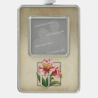 Personalisiertes Blumen-Monogramm Ulsters Mary Rahmen-Ornament Silber