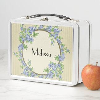 Personalisiertes Blumenfeld-Girly Metall Lunch Box