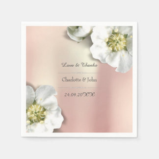 Personalisiertes BlumenRosen-Goldmetallisches Weiß Papierservietten