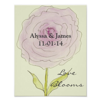 Personalisiertes Brautpartygeschenk. Liebe-Blüte Poster