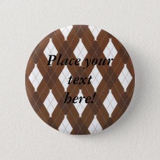 Personalisiertes Brown und weiße karierte Runder Button 5,1 Cm