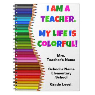 Personalisiertes buntes Lehrer-Notizbuch Spiral Notizblock