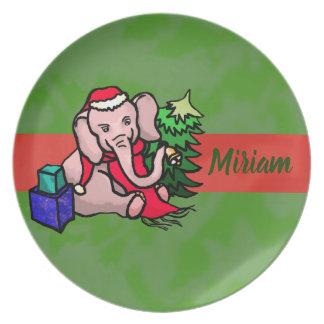 Personalisiertes Cartoon-Sankt-Elefant-Weihnachten Melaminteller