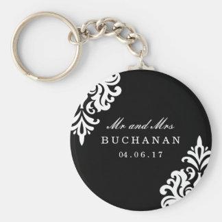 Personalisiertes Damast-Hochzeits-Andenken Schlüsselanhänger