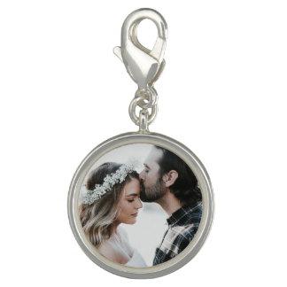 Personalisiertes das Foto-Charme-Silber des Paares Charm