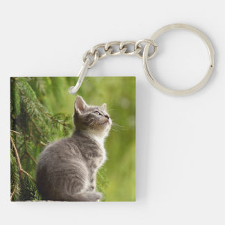 Personalized Double Sided Kitty Cat Pet Keychain