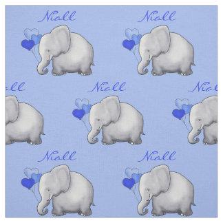 Personalisiertes Elefant-Baby-Jungen-Kinderzimmer Stoff