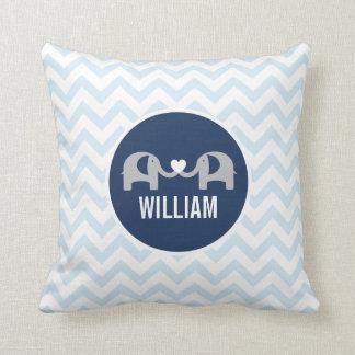 Personalisiertes Elefant-Kissen-Blau Kissen