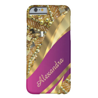 Personalisiertes elegantes bling Rosa und Gold Barely There iPhone 6 Hülle