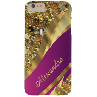 Personalisiertes elegantes bling Rosa und Gold Barely There iPhone 6 Plus Hülle