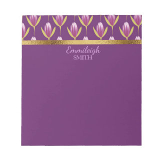 Personalisiertes elegantes lila Blumen- und Gold Notizblock