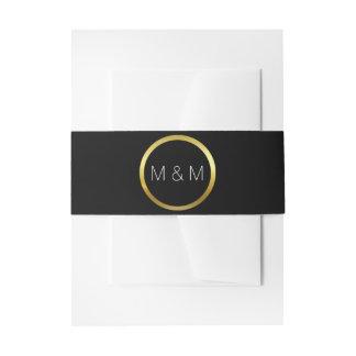 Personalisiertes elegantes Monogramm-Schwarzes u. Einladungsbanderole