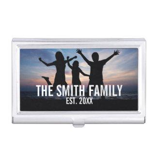 Personalisiertes Familien-Foto mit Familiennamen Visitenkarten Dose