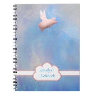Personalisiertes Fliegen-Schwein-Notizbuch Notizblock