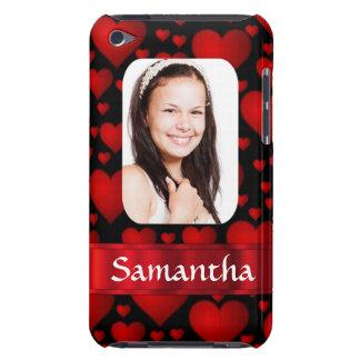 Personalisiertes Foto des roten und schwarzen Barely There iPod Etuis