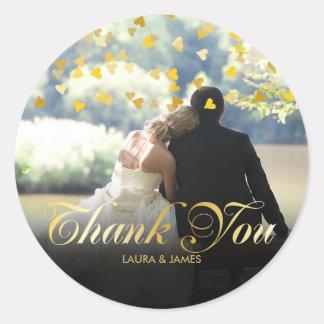 Personalisiertes Foto-Goldconfetti-Skript danken Runder Aufkleber