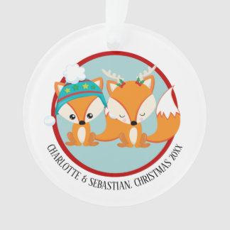 Personalisiertes Foto Weihnachtsrotes Fox Ornament